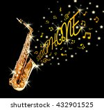 golden saxophone and notes... | Shutterstock . vector #432901525