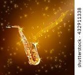 golden saxophone and flowing... | Shutterstock . vector #432911338