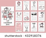 calendar 2016. cute cats for... | Shutterstock .eps vector #432918376