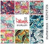 big set  seamless patterns ...   Shutterstock .eps vector #432919156