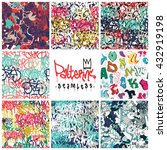 big set  seamless patterns ... | Shutterstock .eps vector #432919198