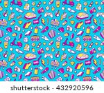 graffiti seamless pattern with... | Shutterstock . vector #432920596