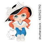 little girl and cute cat vector ...   Shutterstock .eps vector #432922792