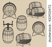 vector set of barrels in... | Shutterstock .eps vector #432933472