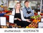 smiling european sellers posing ... | Shutterstock . vector #432934678