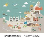 uae travel concept map with... | Shutterstock .eps vector #432943222