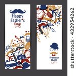 happy fathers day banners set. | Shutterstock .eps vector #432954262
