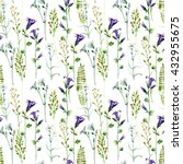 watercolor meadow flowers... | Shutterstock . vector #432955675