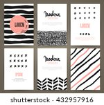 set of brochures with hand... | Shutterstock .eps vector #432957916