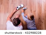 unrecognizable father with his... | Shutterstock . vector #432988228
