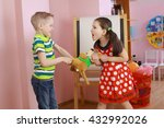 the conflict between a boy and... | Shutterstock . vector #432992026