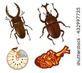 set of beetles and stag beetles | Shutterstock .eps vector #432997735