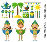 brazil decorative icons set... | Shutterstock .eps vector #433000036
