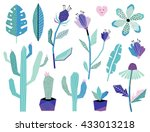 summer jungle plants and... | Shutterstock .eps vector #433013218
