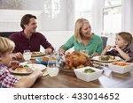 portrait of family sitting... | Shutterstock . vector #433014652