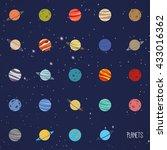 abstract cartoon planets   Shutterstock .eps vector #433016362
