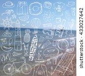 summer vacation doodles.vector... | Shutterstock .eps vector #433027642