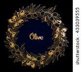 graphic olive wreath. vector... | Shutterstock .eps vector #433039555
