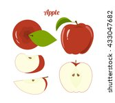 vector juicy red apple and... | Shutterstock .eps vector #433047682