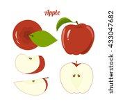 vector juicy red apple and... | Shutterstock .eps vector #433047682