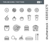 fast food. set with thin line... | Shutterstock .eps vector #433051375