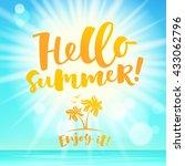 hello summer lettering card.... | Shutterstock .eps vector #433062796