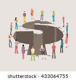 group of business people around ... | Shutterstock .eps vector #433064755