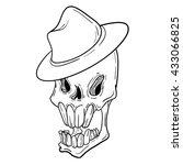 thin line skull label. retro... | Shutterstock .eps vector #433066825