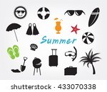 collection of summer icon set... | Shutterstock .eps vector #433070338
