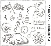 racing auto items sketch icons... | Shutterstock .eps vector #433088536