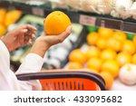pick orange women hand pick up... | Shutterstock . vector #433095682