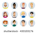 set of diverse round avatars... | Shutterstock .eps vector #433103176