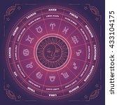 zodiac circle with horoscope...   Shutterstock .eps vector #433104175
