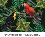 vector painting with tropical... | Shutterstock .eps vector #433105852