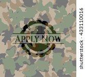 apply now camo emblem | Shutterstock .eps vector #433110016