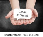 Small photo of Cease and desist written on a speechbubble