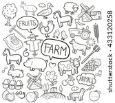 Farm Day Animals Doodle Icons...