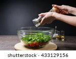 young woman grinding pepper to... | Shutterstock . vector #433129156