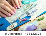 scrapbook background. hands ... | Shutterstock . vector #433132126