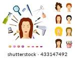 girl face makeup beauty salon... | Shutterstock .eps vector #433147492
