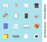 vector set of flat style icons... | Shutterstock .eps vector #433148602