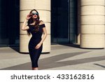 young beautiful stylish girl... | Shutterstock . vector #433162816