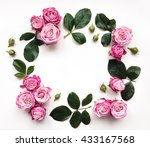 decorative frame with pink... | Shutterstock . vector #433167568