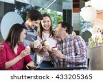 family laughing while having... | Shutterstock . vector #433205365