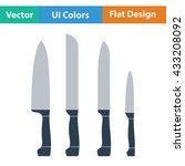 kitchen knife set icon. flat...