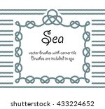rope with knot frame. sea... | Shutterstock .eps vector #433224652