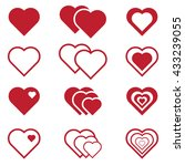 set of red vector hearts icons | Shutterstock .eps vector #433239055