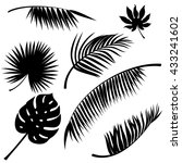 tropical leaves black vector... | Shutterstock .eps vector #433241602