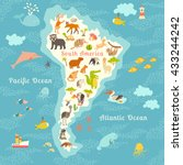 animals world map  south... | Shutterstock . vector #433244242