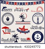 set of summer and sea labels ...   Shutterstock . vector #433245772